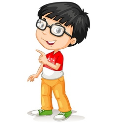 Asian boy wearing glasses vector