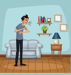 background living room home with sneeze sickness vector image vector image