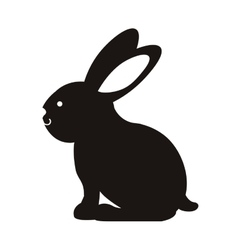 Black silhouette rabbit with long ears vector