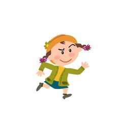 cartoon character girl running vector image