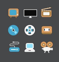 cinematograph icons vector image vector image