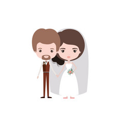Colorful caricature newly married couple in vector