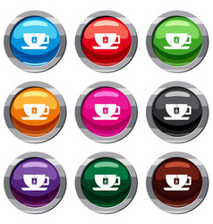 cup of tea with tea bag set 9 collection vector image vector image