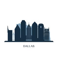 Dallas skyline monochrome silhouette vector
