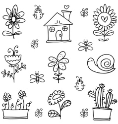 Doodle of spring with house flower vector