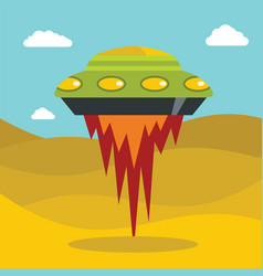 Flat cartoon space ufo object in the color vector