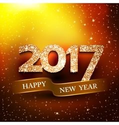 Happy new year 2017 gold background vector image
