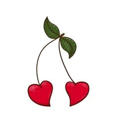 Heart shaped cherries vector image vector image
