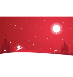 Landscape of people skiing at night winter vector