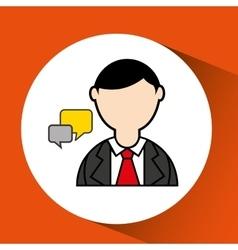 Man bearded and bubble speech icon vector