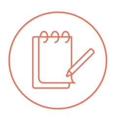 Notepad with pencil line icon vector