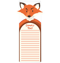 paper template with fox in background vector image