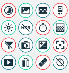 Photo icons set with photo no filter accelerated vector