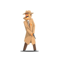 Police Detective In A Long Coat And Hat vector image vector image