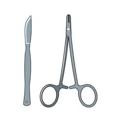 scissors and scalpel cartoon icon vector image