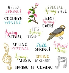 set of hand-drawn spring design elements vector image vector image