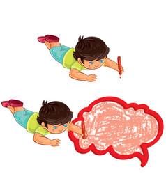 Small boy draw a speech bubble vector