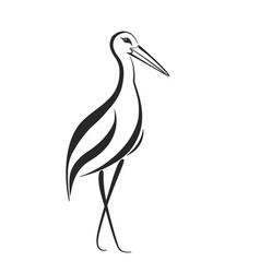Stylized stork heron or crane label vector