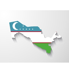 Uzbekistan map with shadow effect vector