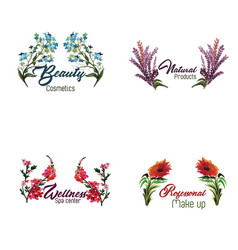 Watercolor floral logo collection vector