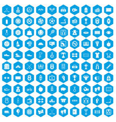 100 basketball icons set blue vector image vector image
