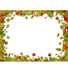 Autumn bright leaf border vector