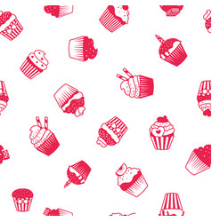 muffin red and white pattern vector image