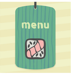 sushi roll with raw fish japan food icon logo vector image