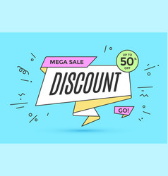 Ribbon banner with text discount vector