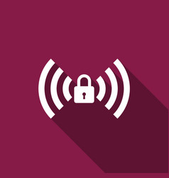 Wifi locked sign icon isolated with long shadow vector
