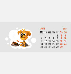 2018 year of yellow dog on chinese calendar vector image vector image