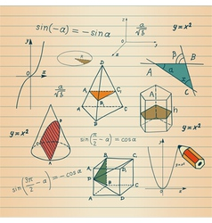 Mathematics - geometric shapes and expressions ske vector