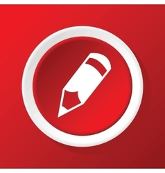 Pencil icon on red vector