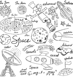 Space doodles icons set hand drawn sketch with vector