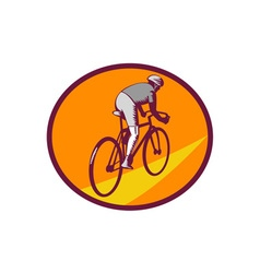 Cyclist riding bicycle cycling oval woodcut vector