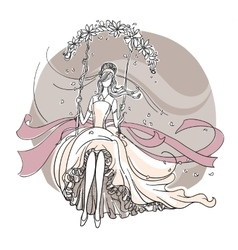 Beautiful bride on a swing vector