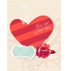 romantic card with frame and photo vector image