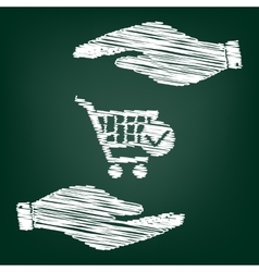 Shopping cart and check mark icon vector