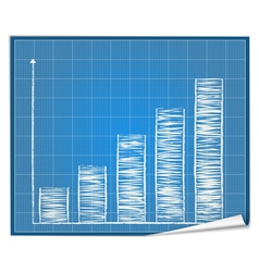 Bar graph blueprint vector image