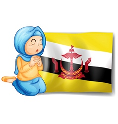 A lady near the flag of Brunei vector image