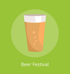 Beer festival poster with icon of full pint glass vector