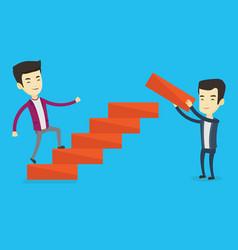 Business man runs up the career ladder vector