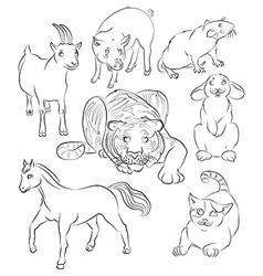 Cat goat horse pig rabbit rat tiger vector image vector image