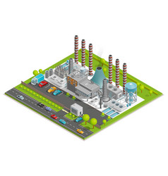 Chemical plant isometric concept vector