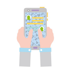 Colorful hands with smartphone and whatsapp chat vector