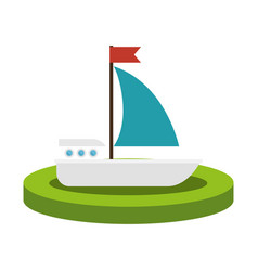 Colorful silhouette with sailboat over base vector