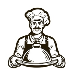 Cook chef logo restaurant cafe or dish vector
