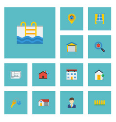 Flat icons depot home blueprint and other vector