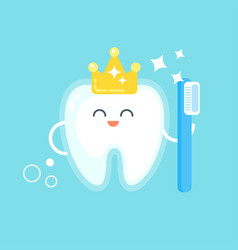 flat style of happy tooth with crown vector image