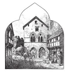 Fourteenth century city street a typical street vector